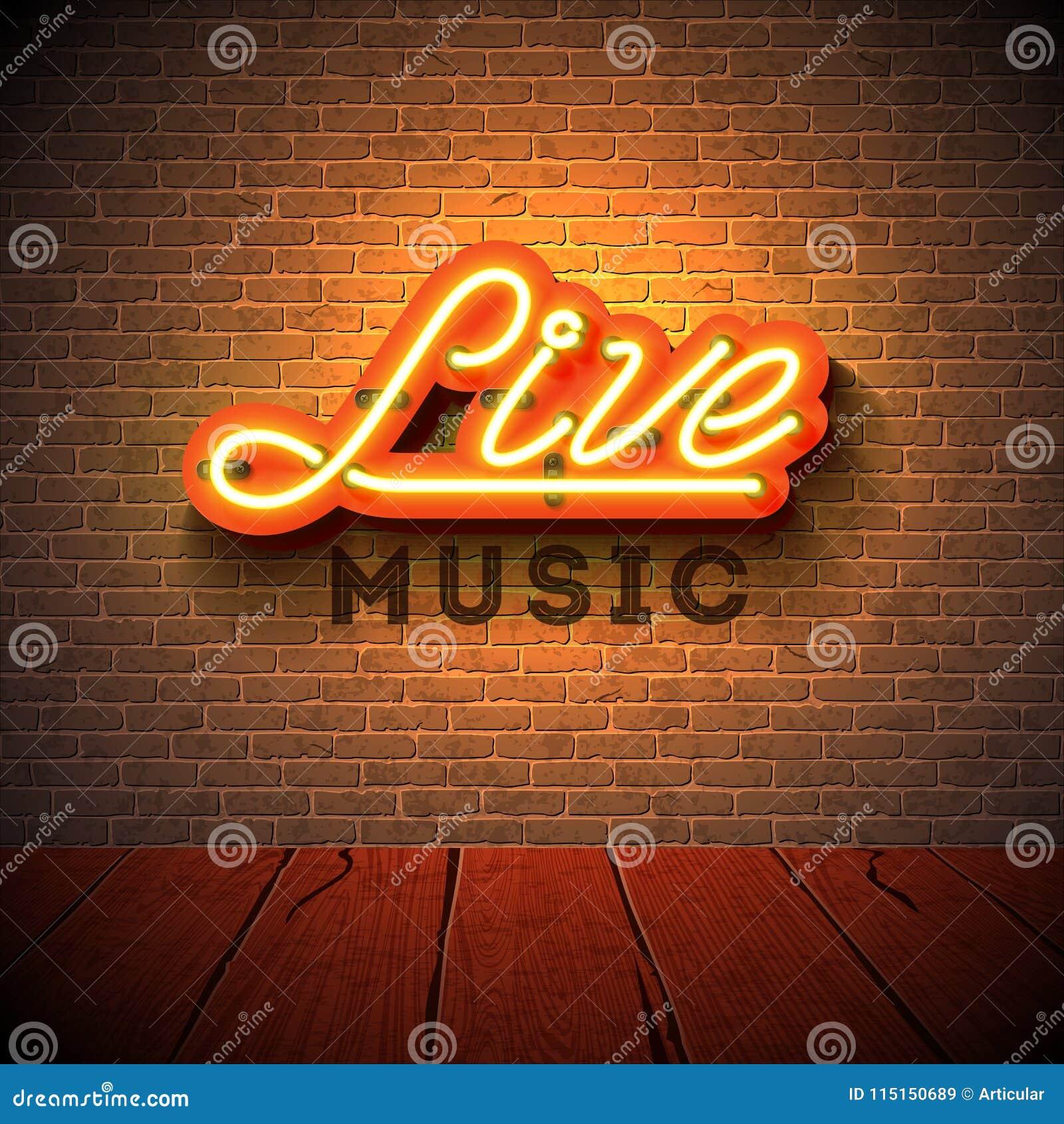 Neontecken för levande musik med bokstaven för skylt 3d på bakgrund för tegelstenvägg Planlägg mallen för garnering, räkningen, r