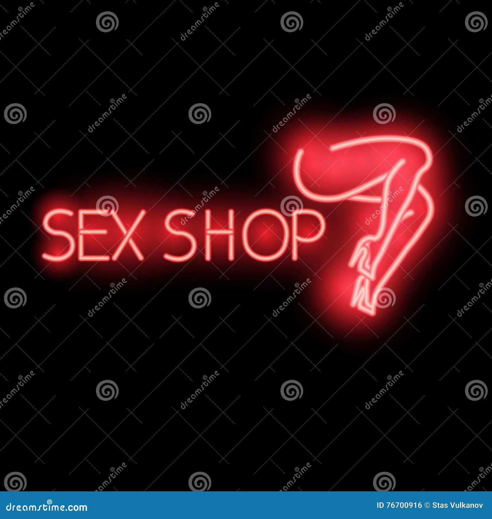 Neontecken - sexshop, en ljus röd affischtavla,