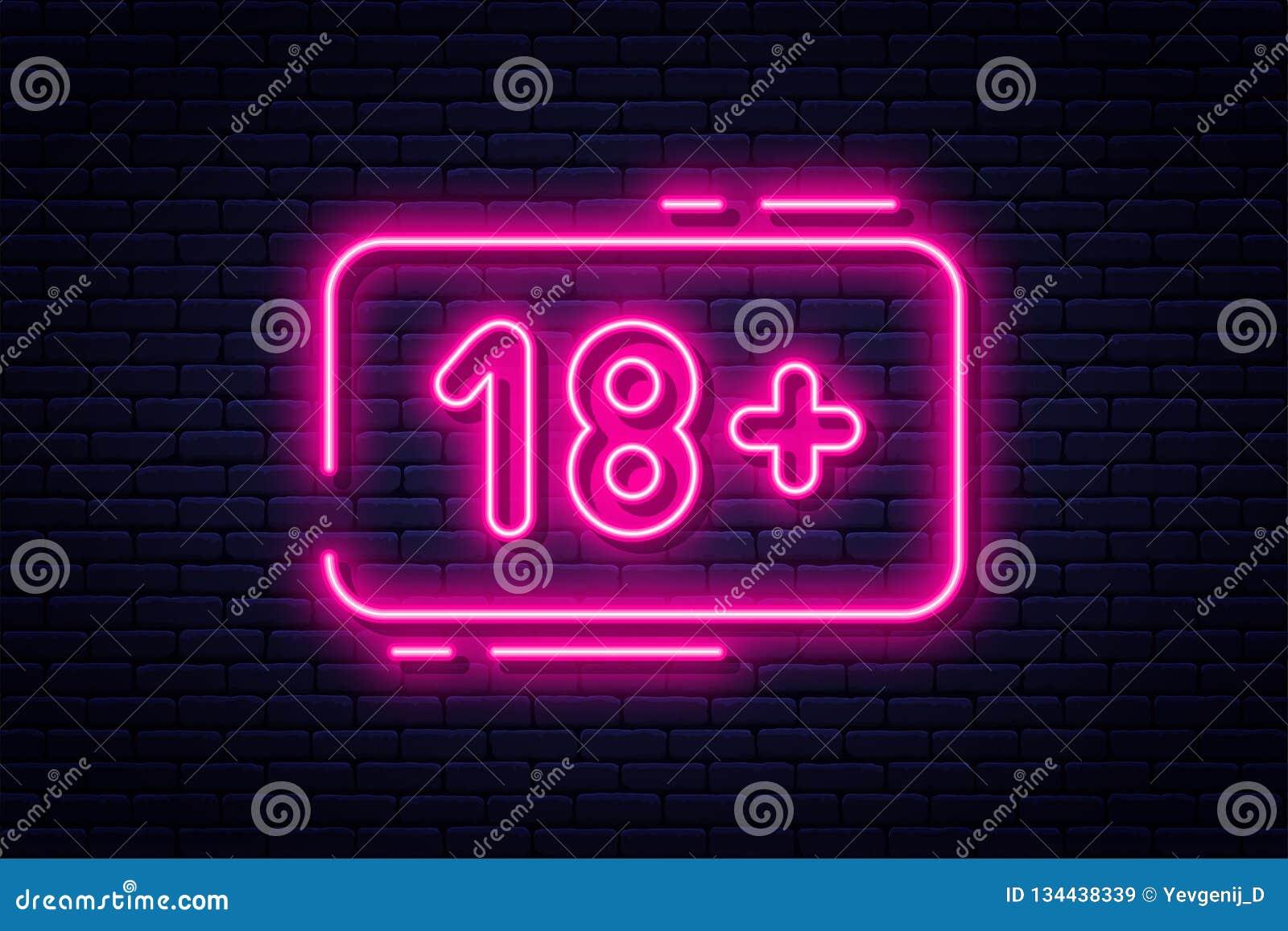 Neontecknet, vuxna människor endast, 18 plus, könsbestämmer och xxx Inskränkt innehåll, erotiskt videopn begreppsbaner, affischta