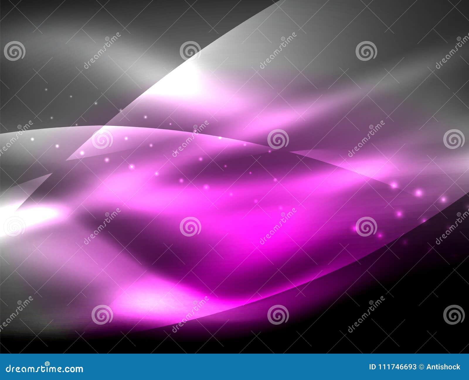 Neonwellenhintergrund mit Lichteffekten, curvy Linien mit den funkelnden und glänzenden Punkten, glühende Farben in der Dunkelhei