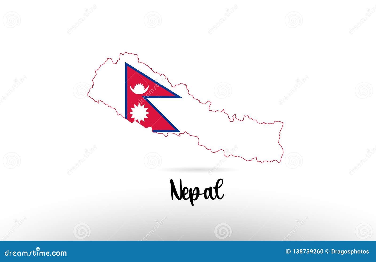 Nepal Country Flag Inside Map Contour Design Icon Logo Stock ...