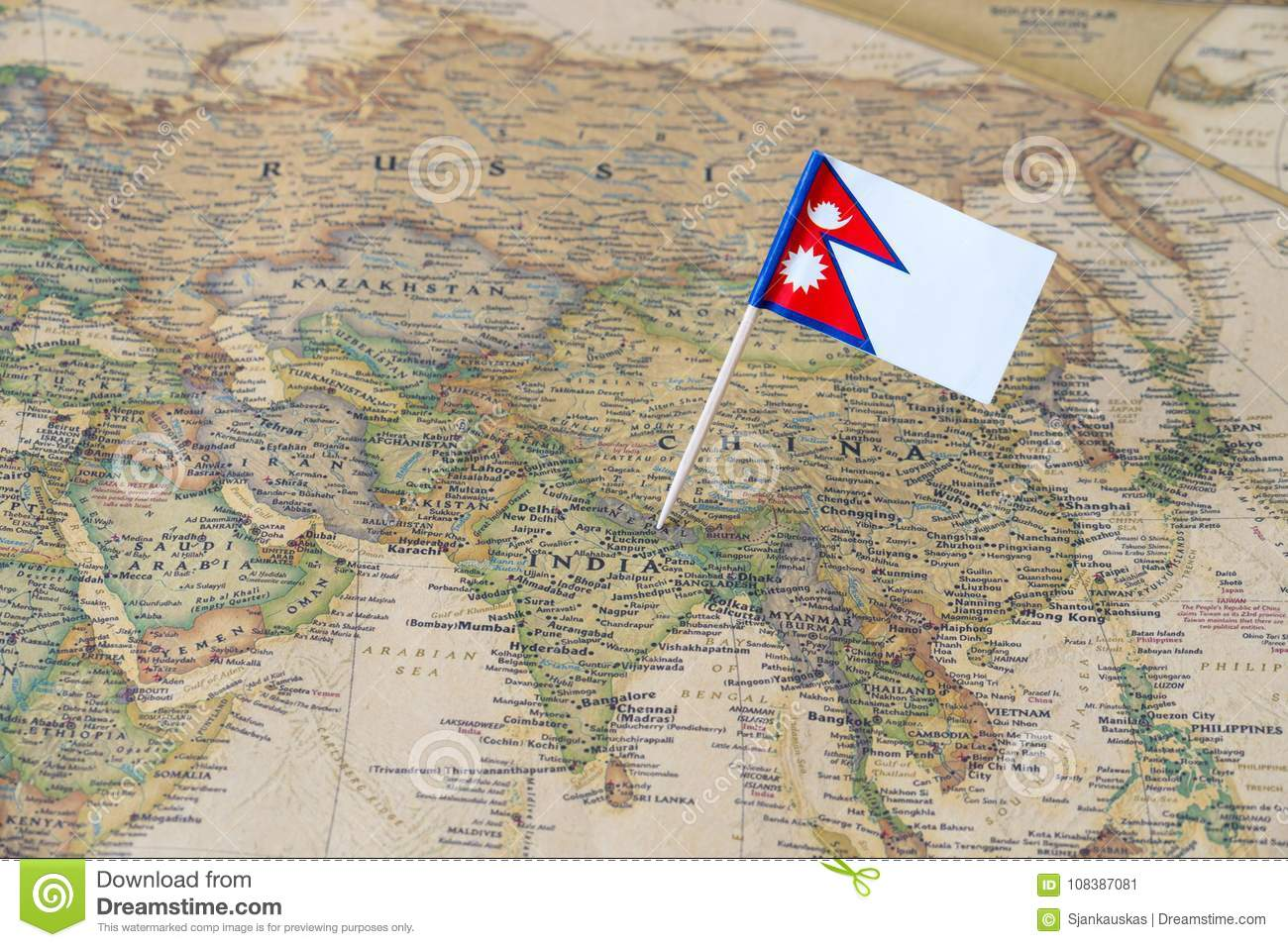 Nepal Flag Pin On A World Map Stock Image - Image of borders ...