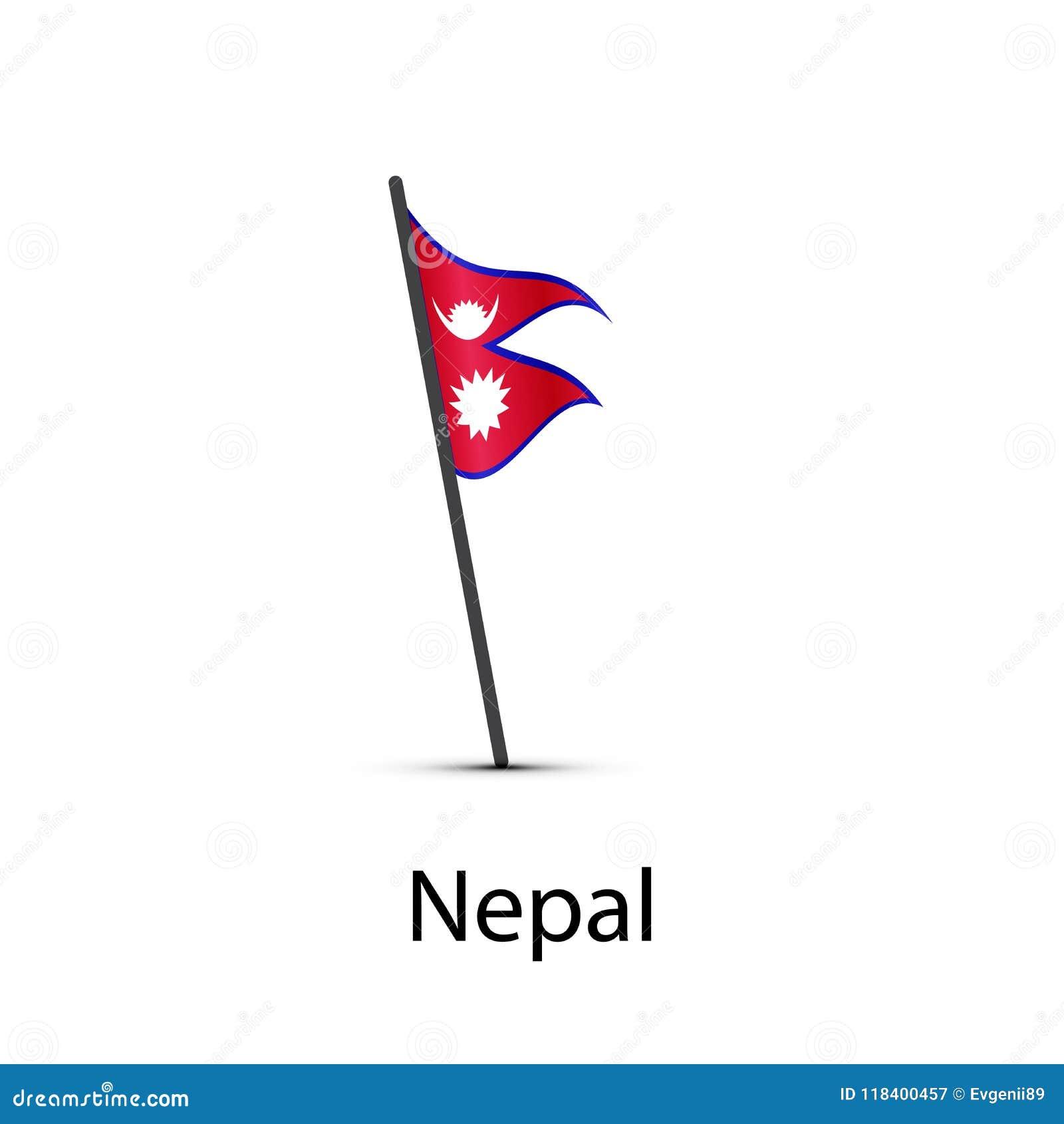 Nepal Flag On Pole, Infographic Element On White Stock