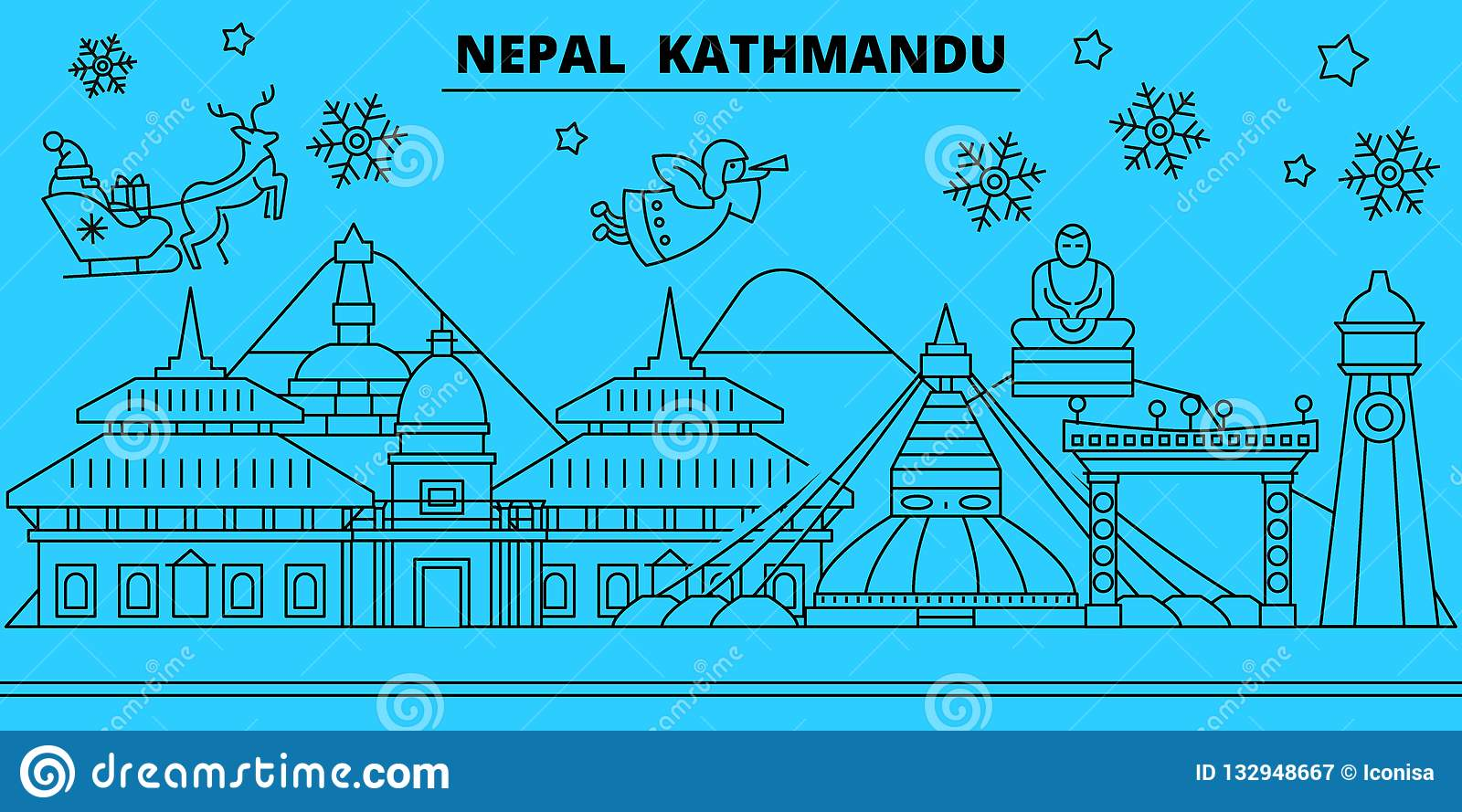 Nepal Kathmandu Winter Holidays Skyline Merry Christmas Happy New