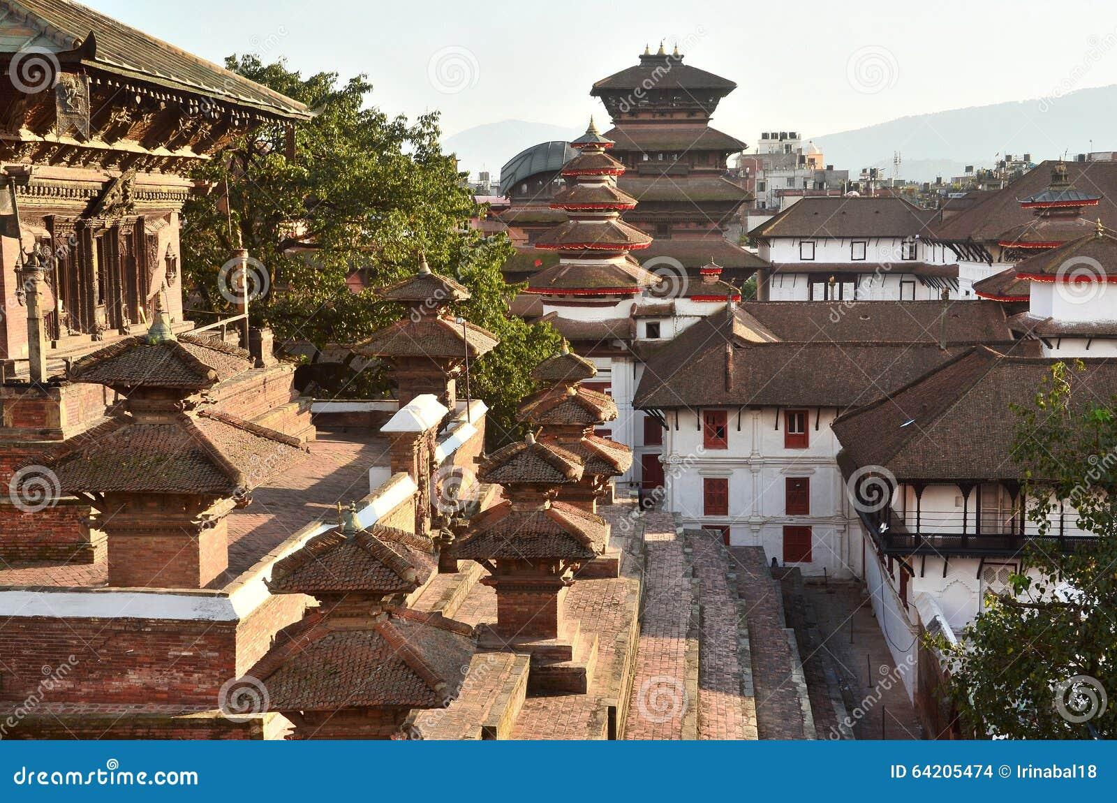 Nepal, Katmandu, cuadrado de Darbar, Royal Palace viejo del lado del templo Taleju En puede el durin parcialmente destruido de 20