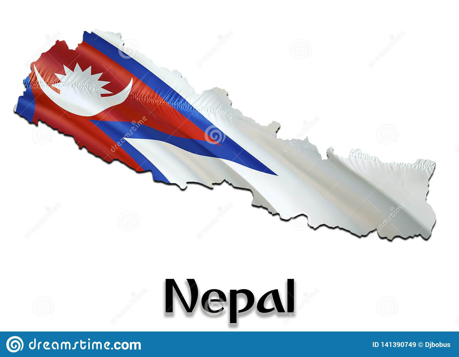 Nepal Map Flag. 3D Rendering Nepal Map And Flag On Asia Map. The ...