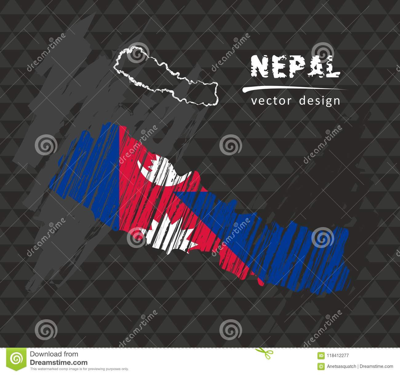 Nepal Map With Flag Inside On The Black Background. Chalk Sketch ...