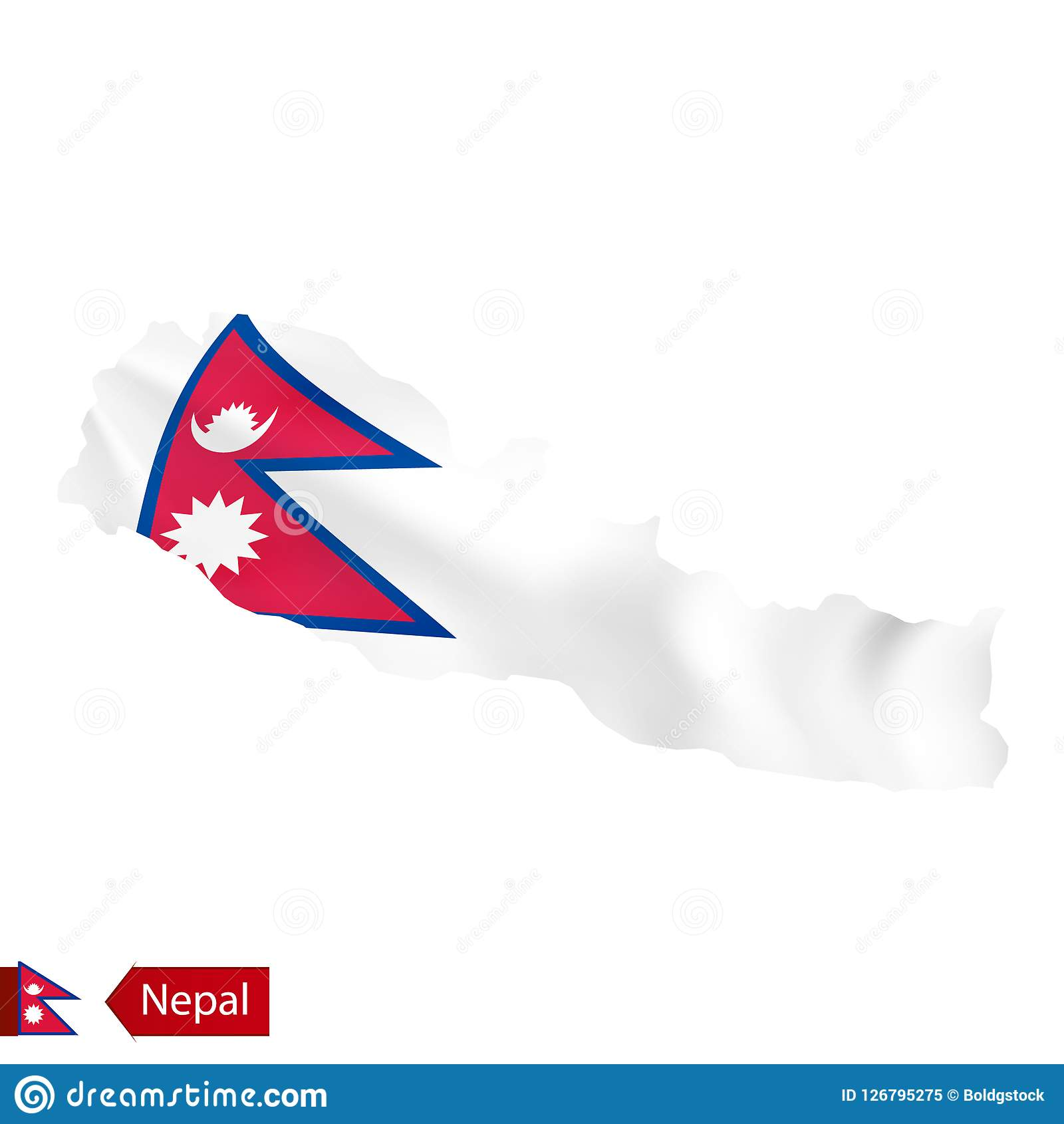 Nepal Map With Waving Flag Of Country. Stock Vector - Illustration ...