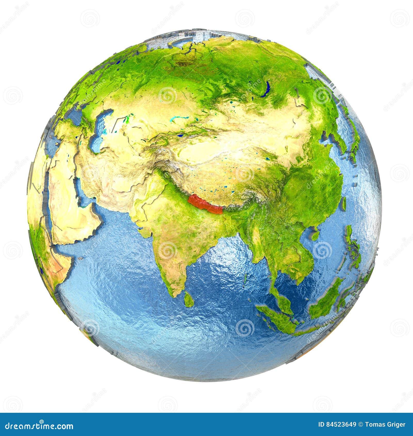 Nepal in red on full Earth stock illustration  Illustration