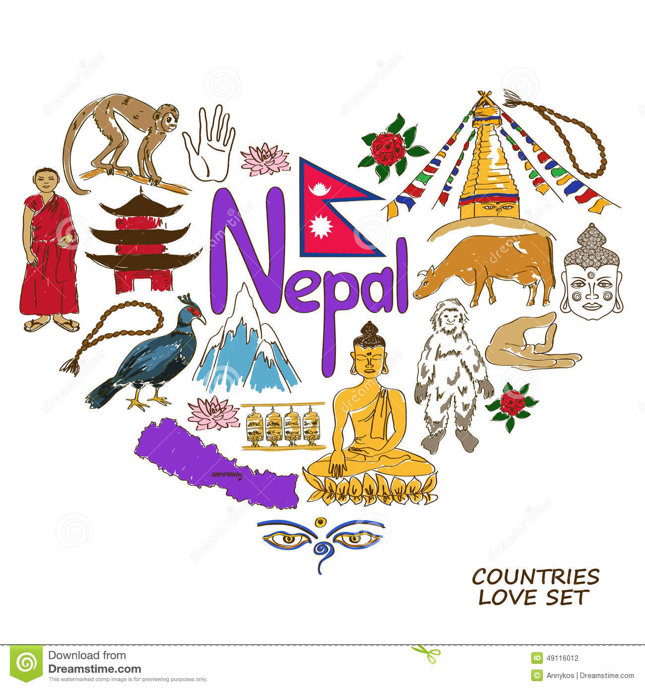 nepal symbols in heart shape concept stock vector image Indian Elephant Drawing indian elephant face clipart