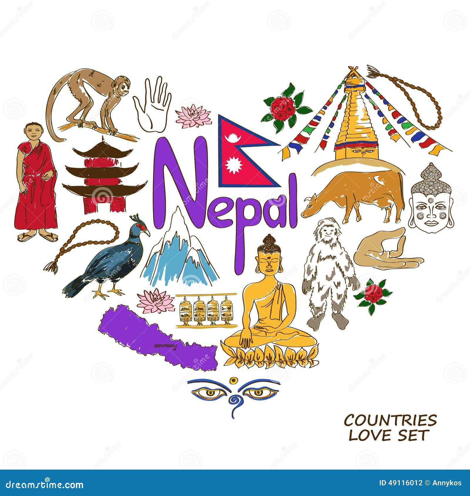 Nepal Symbols In Heart Shape Concept Stock Vector Illustration Of