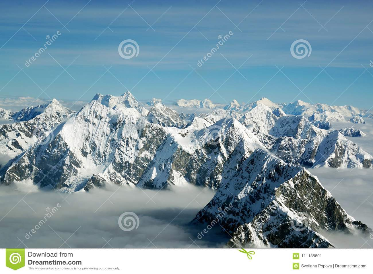 The Tops The Himalayan Mountains The Clouds View From The