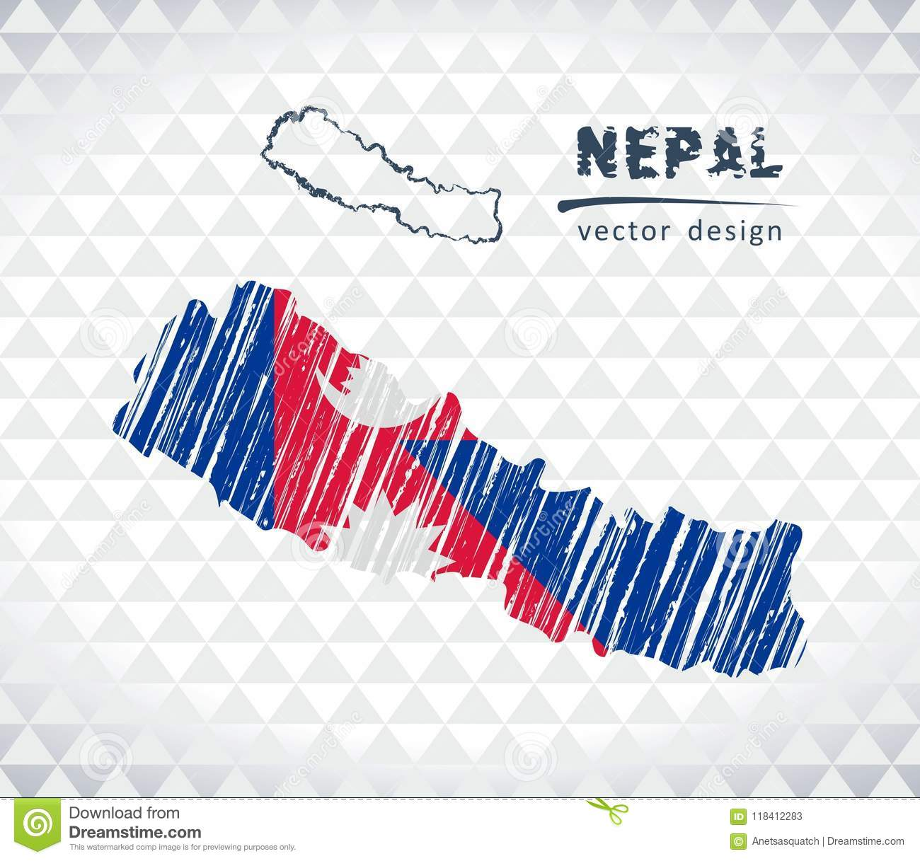Nepal Vector Map With Flag Inside Isolated On A White Background ...