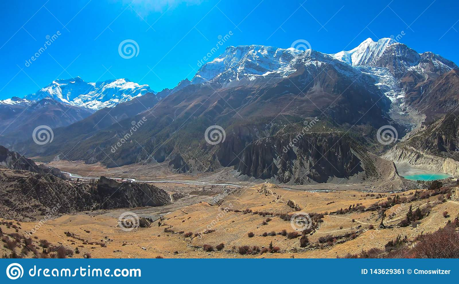 Nepal - View from Praken Gompa on Annapurna Chain and Manang Lake