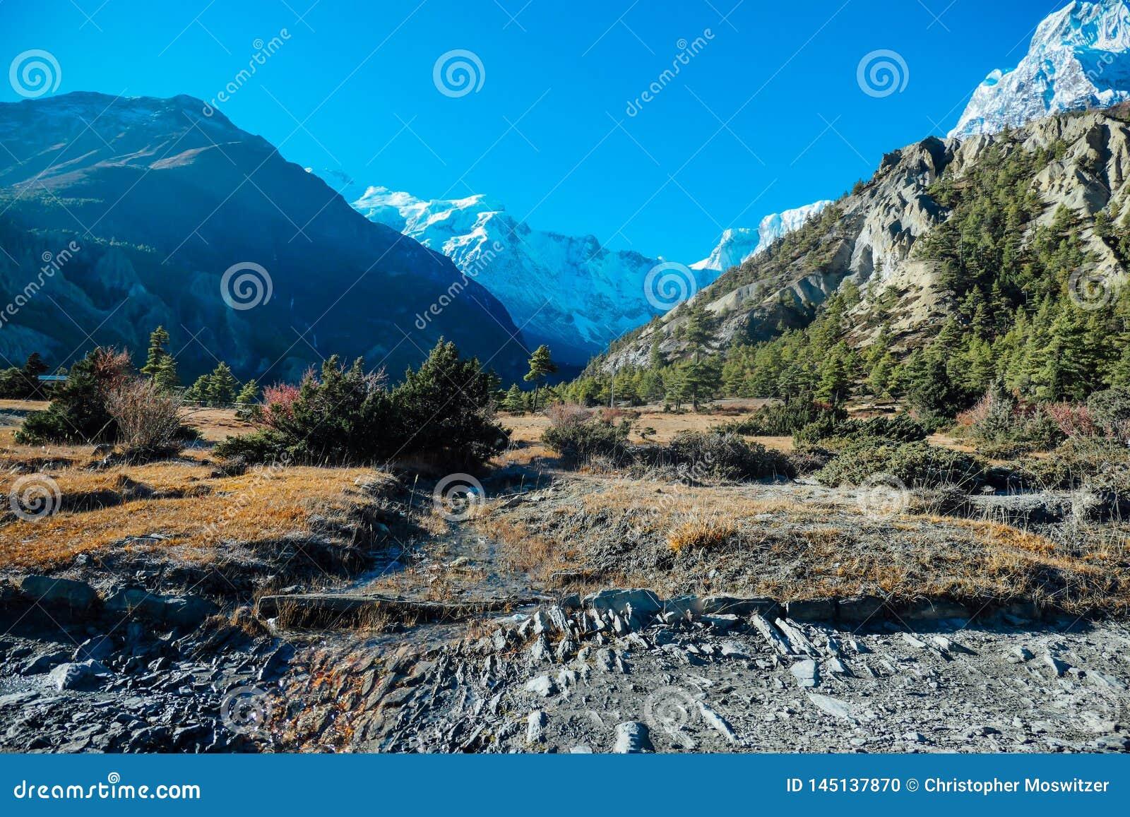 Nepal - widok na Annapurna łańcuchu od Humde