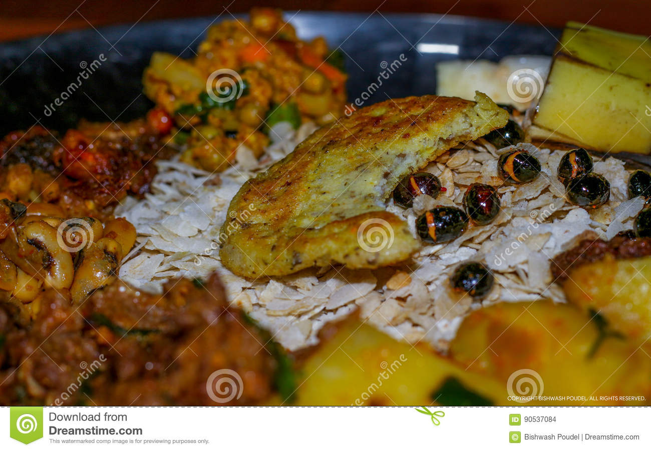 Nepali Newari Khaja Set stock photo  Image of natural - 90537084
