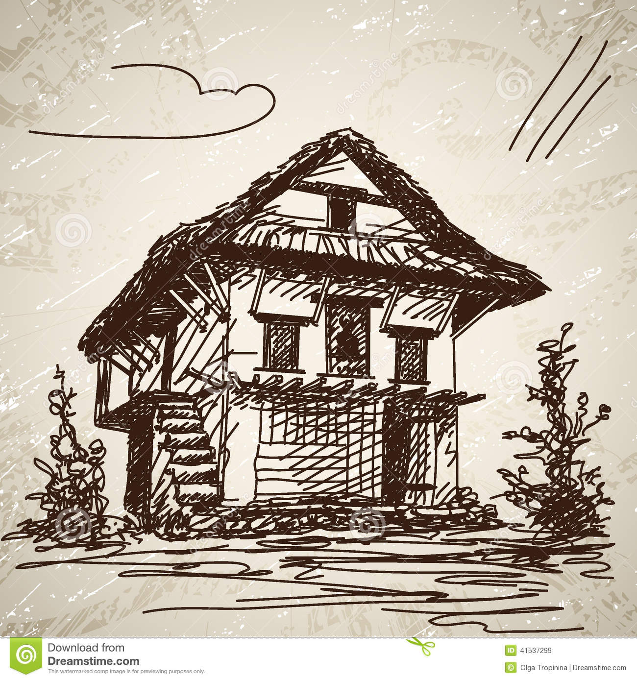 Drawn hand house illustration nepali
