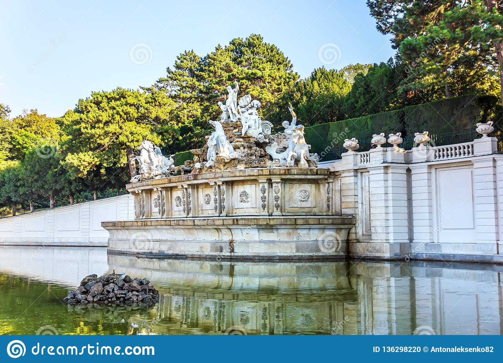 The Neptune Fountain in the Schonbrunn Palace Park, Vienna