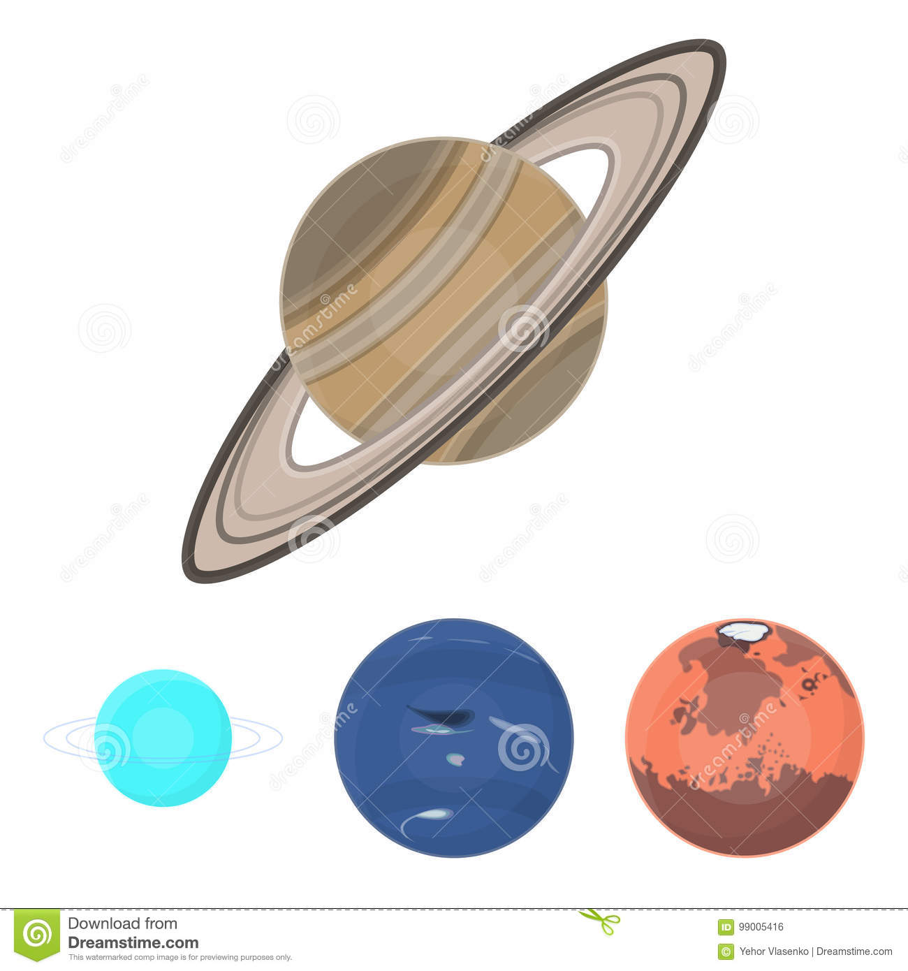 Neptune Mars Saturn Uranus Of The Solar System Planets Set
