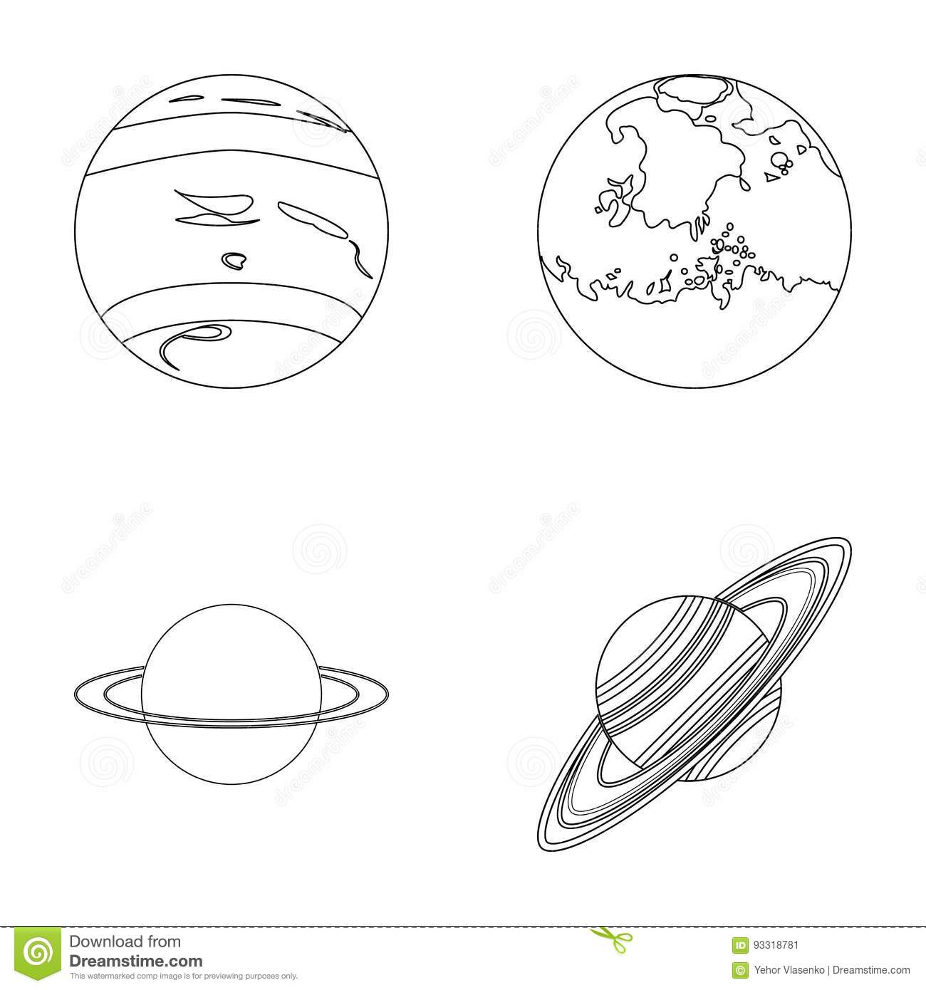 Neptune mars saturn uranus of the solar system planets set neptune mars saturn uranus of the solar system planets set collection icons in outline style vector symbol stock buycottarizona Image collections