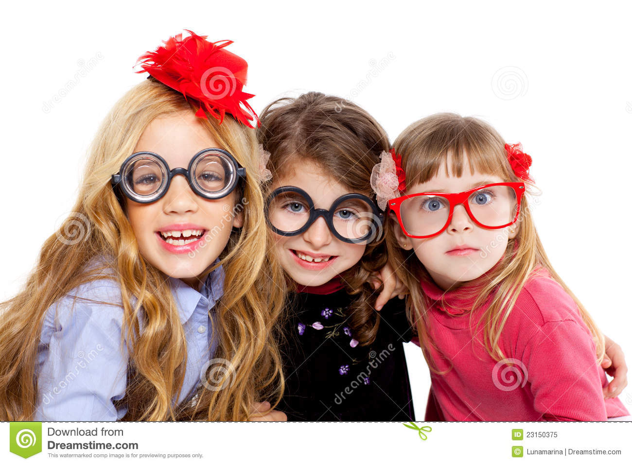Nerd Children Girl Group With Funny Glasses Royalty Free ...