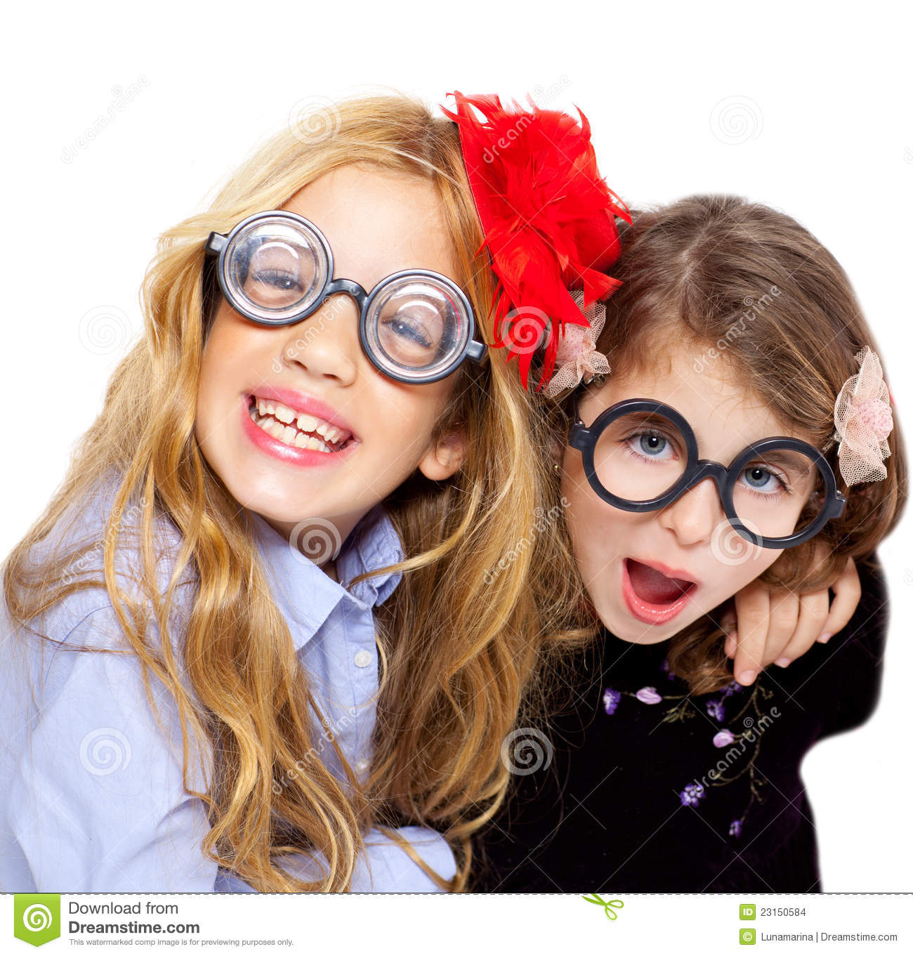 Nerd Children Girl Group With Funny Glasses Stock Images ...