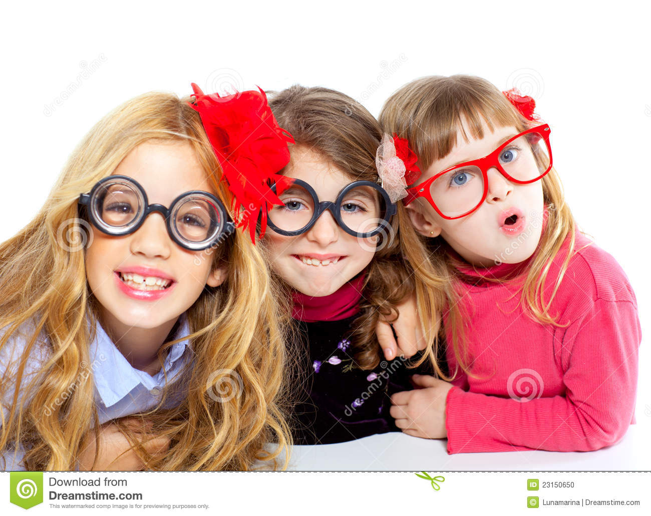 Nerd Children Girl Group With Funny Glasses Royalty-Free ...