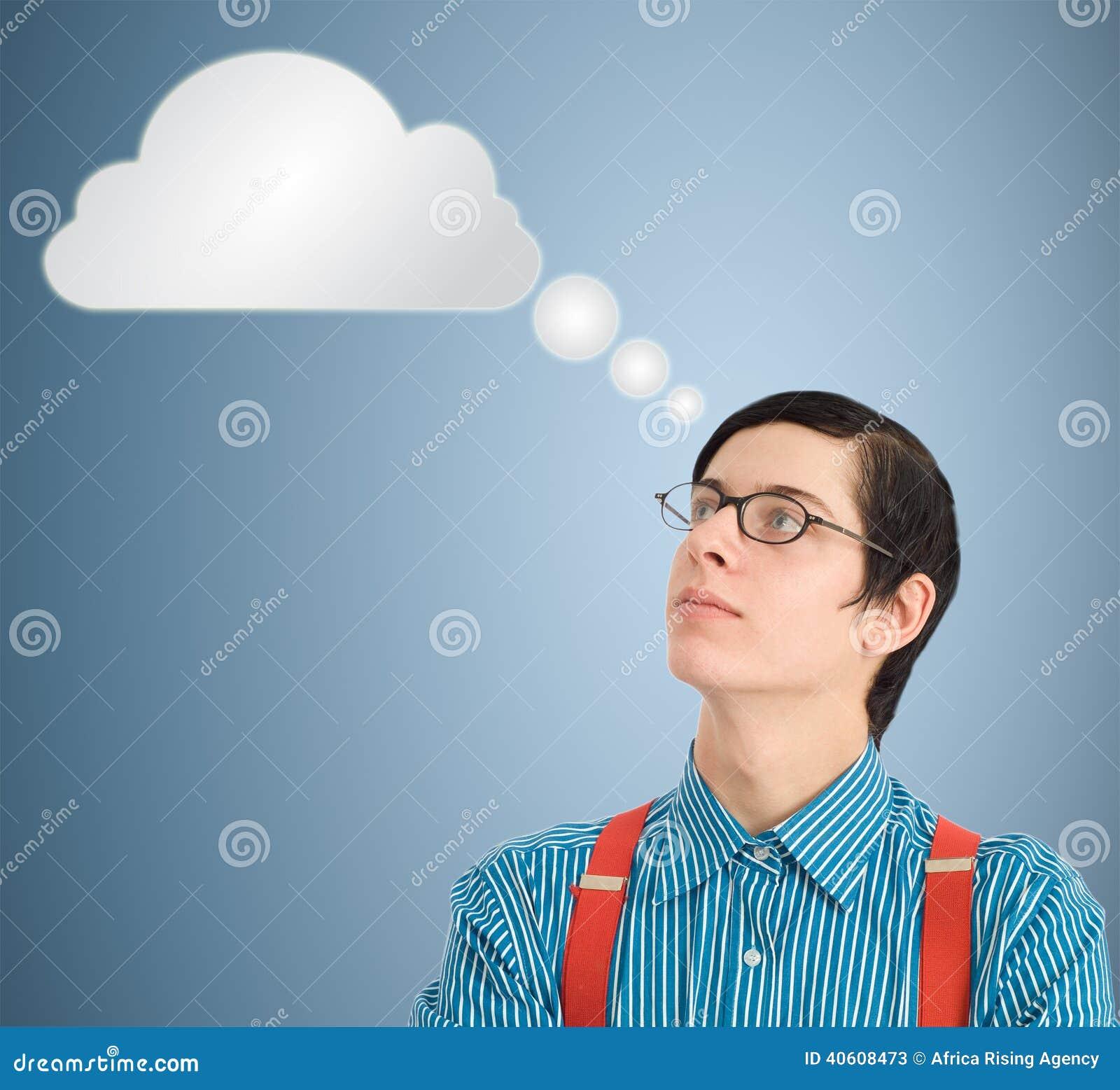 Nerd geek zakenman het denken wolk of gegevensverwerking