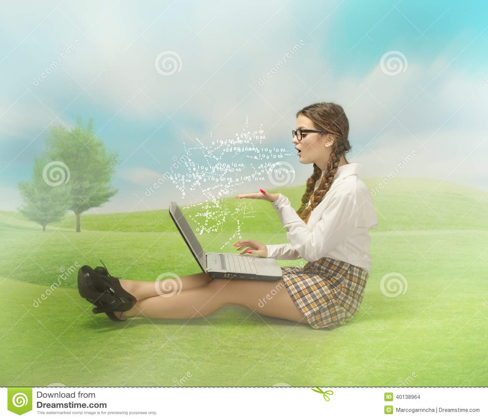 Nerd girl blogging in an outdoor place