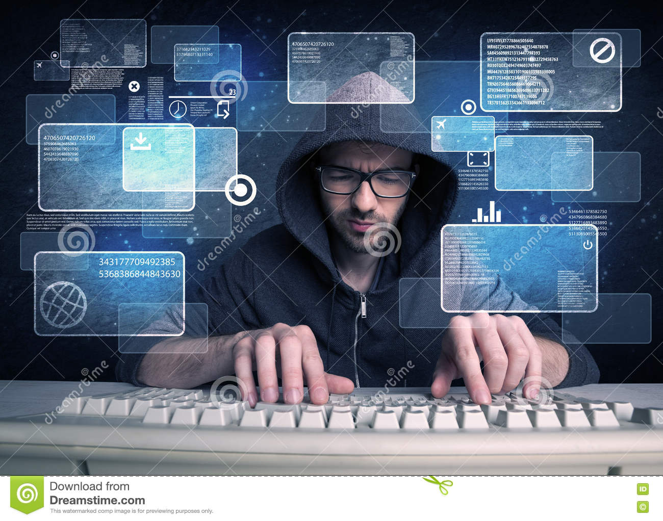 Nerd With Glasses Hacking Websites Stock Photo - Image of pass, face