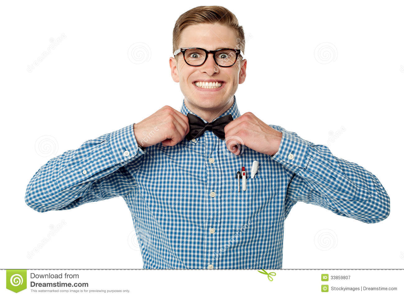 Nerd Guy Adjusting His Bow Tie Royalty Free Stock Photography - Image ...