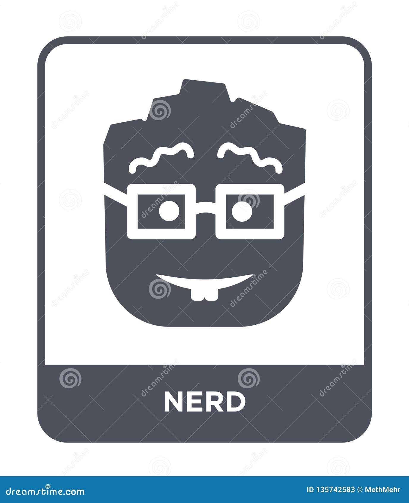 Nerd pictogram in in ontwerpstijl Nerdpictogram op witte achtergrond wordt geïsoleerd die nerd vectorpictogram eenvoudig en moder