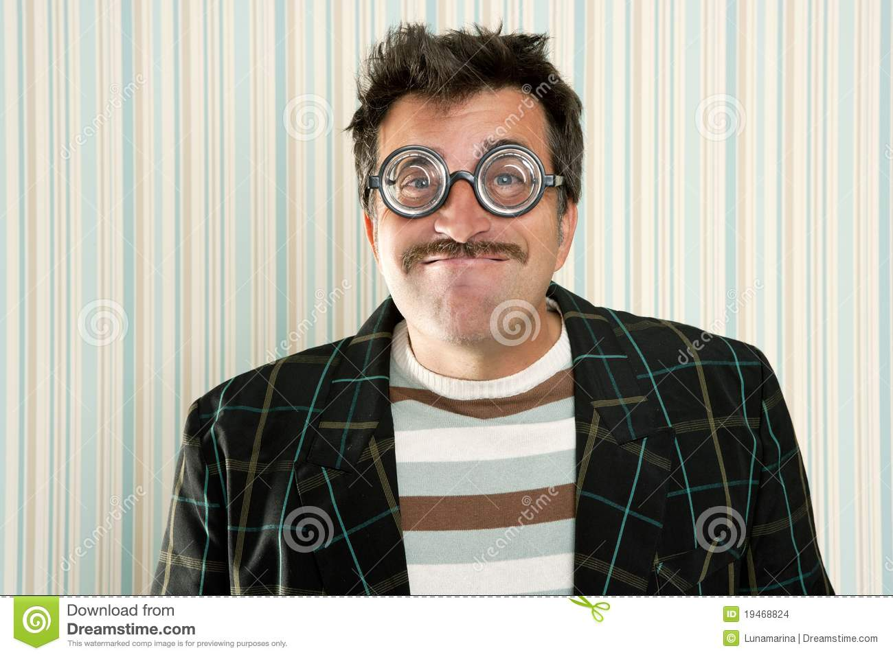 Nerd silly crazy myopic glasses man funny gesture