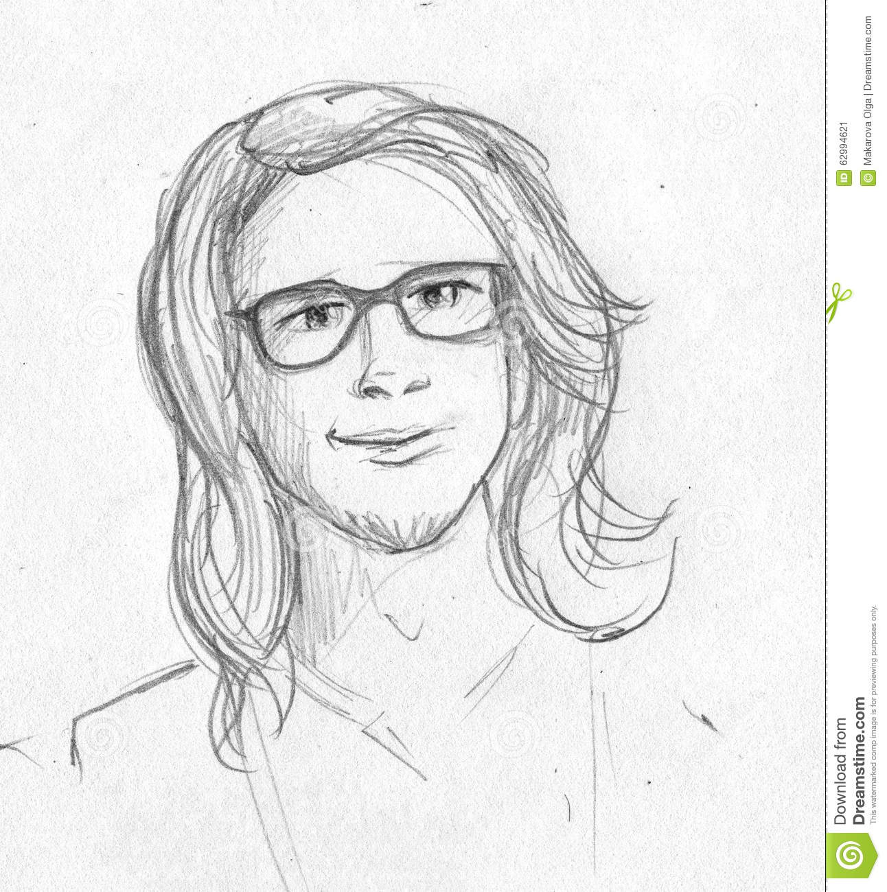 Hand drawn pencil sketch of a nerdy young man with long hair and glasses