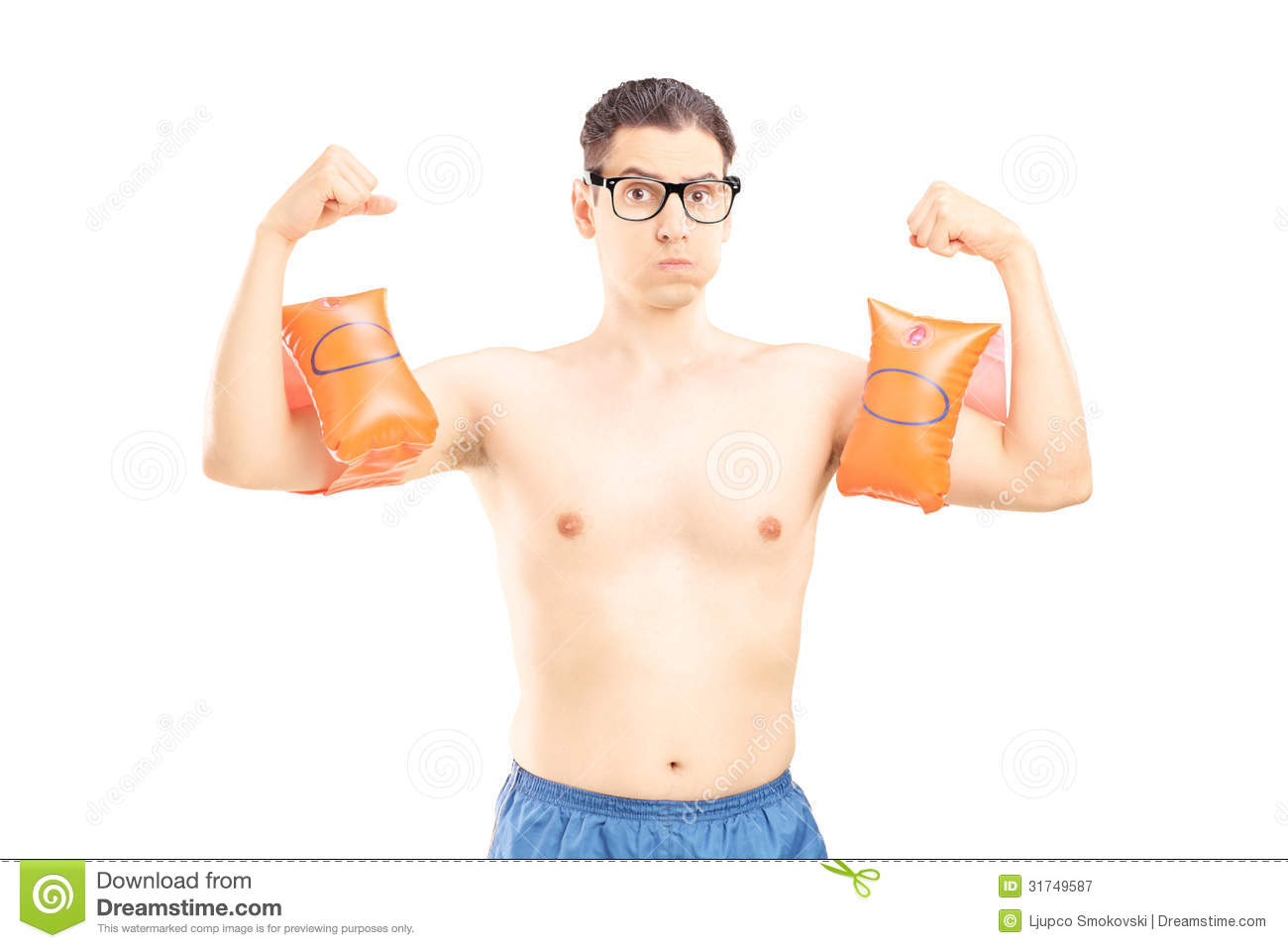 nerdy young man with swimming arm bands showing his
