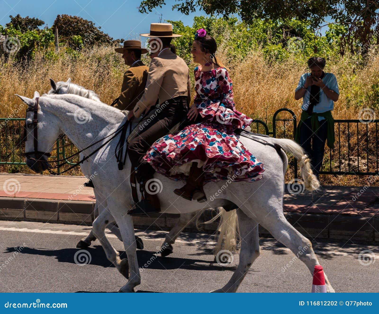 NERJA, SPAGNA - 15 maggio 2018 pellegrinaggio annuale nel costiero e