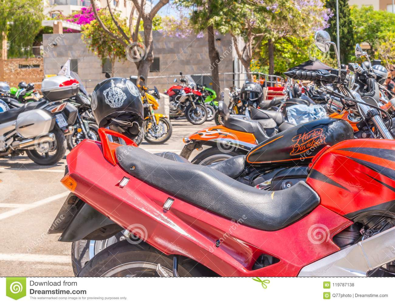 NERJA, SPAIN - JUNE 10, 2018 motorcycle rally in the famous Andalusian town of Nerja