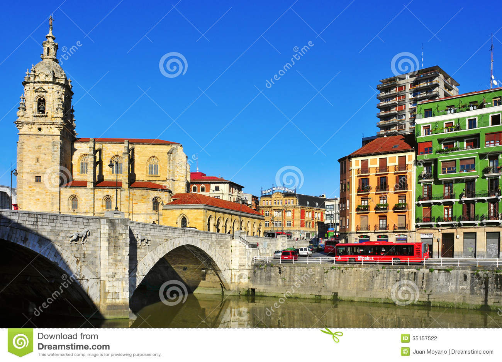 Bilbao spain november 13 san anton bridge and san anton church on