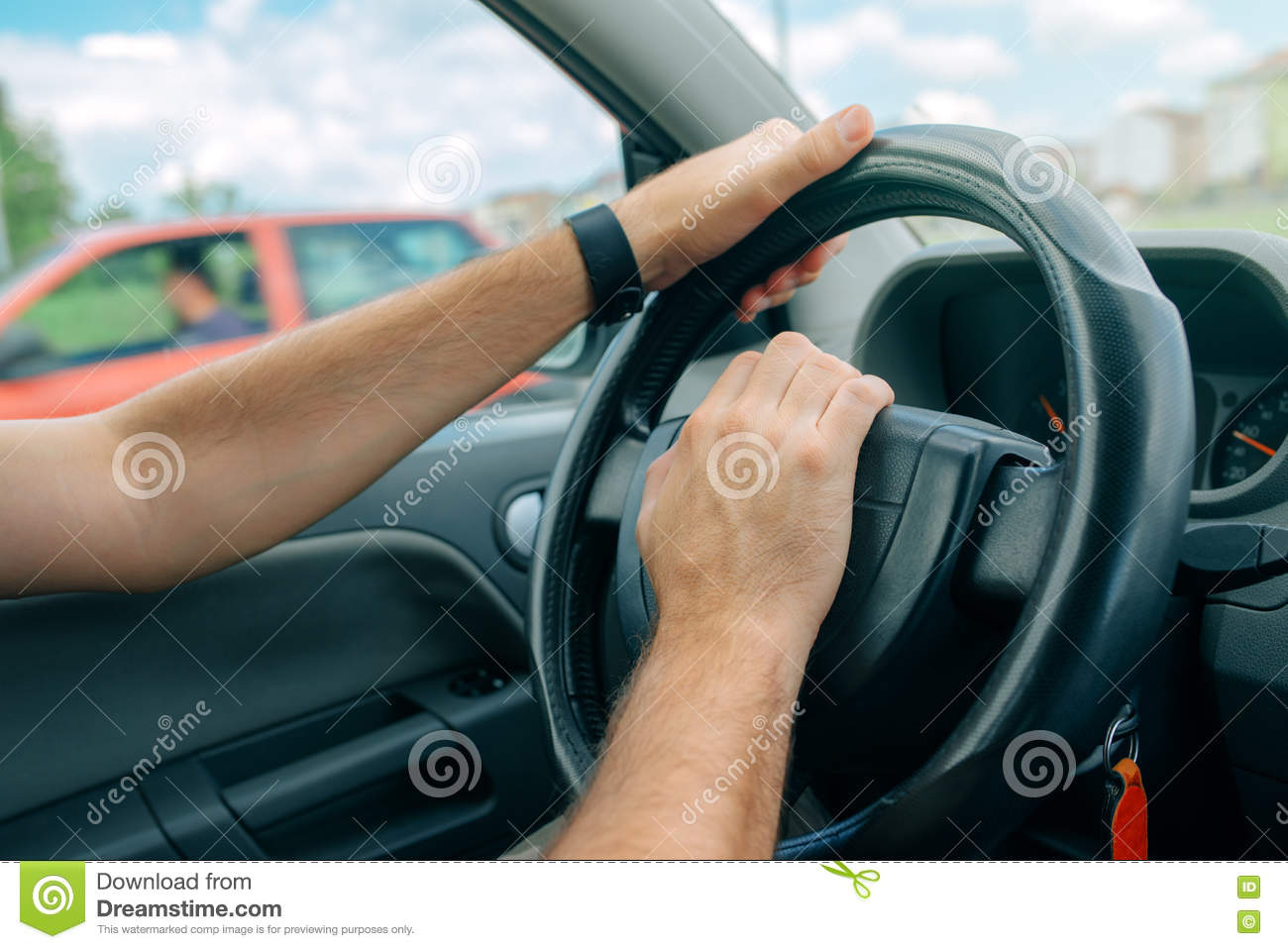 Nervous male driver pushing car horn in traffic rush hour