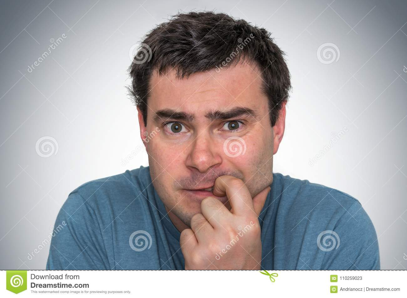 Nervous Man Biting His Nails - Nervous Breakdown Stock Image - Image ...