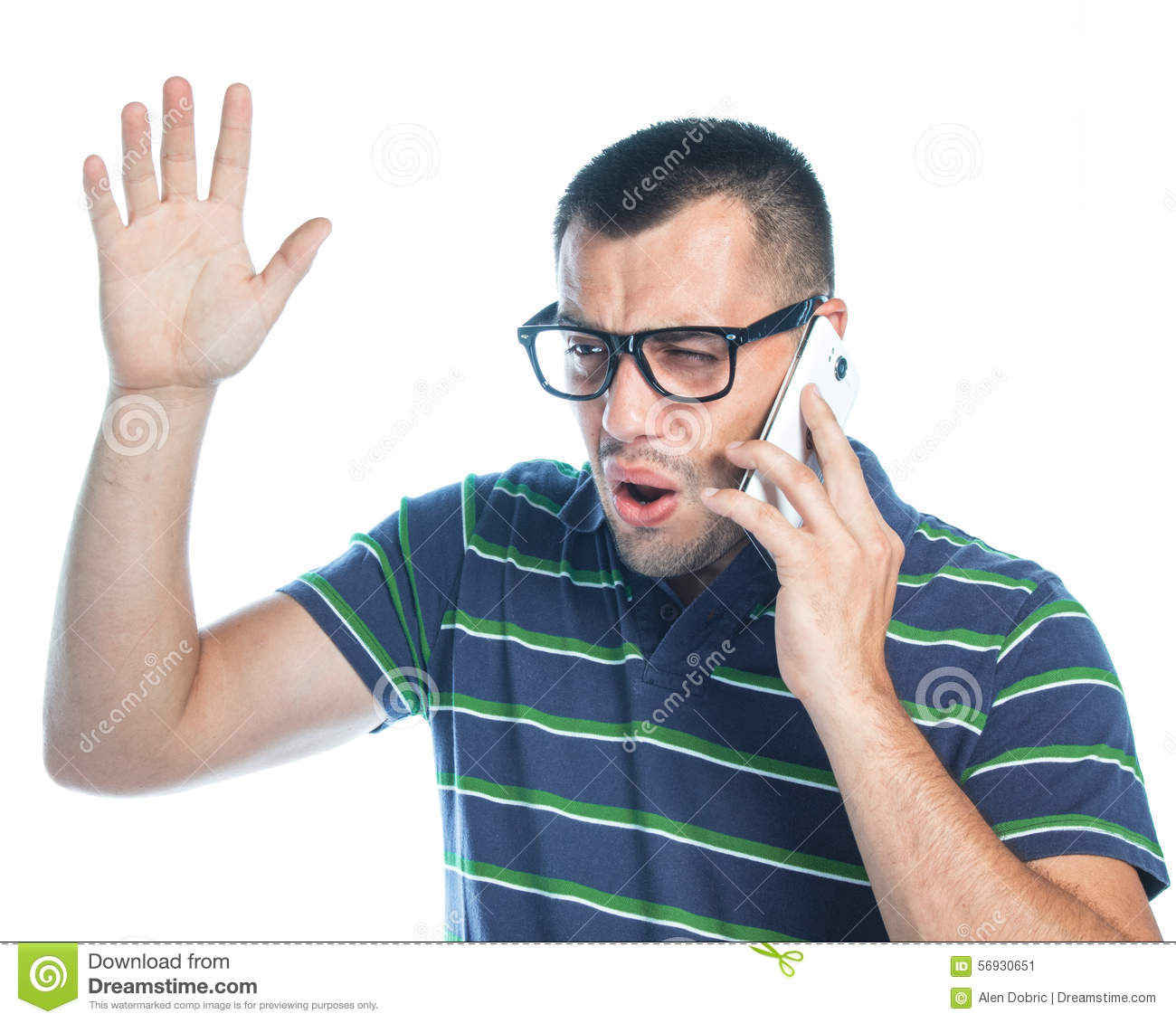 Nervous man on phone stock image Image of expression