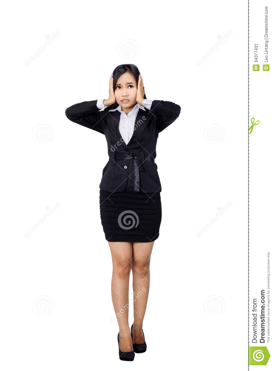 Nervous Scared Business Woman Stock Image - Image: 34377431