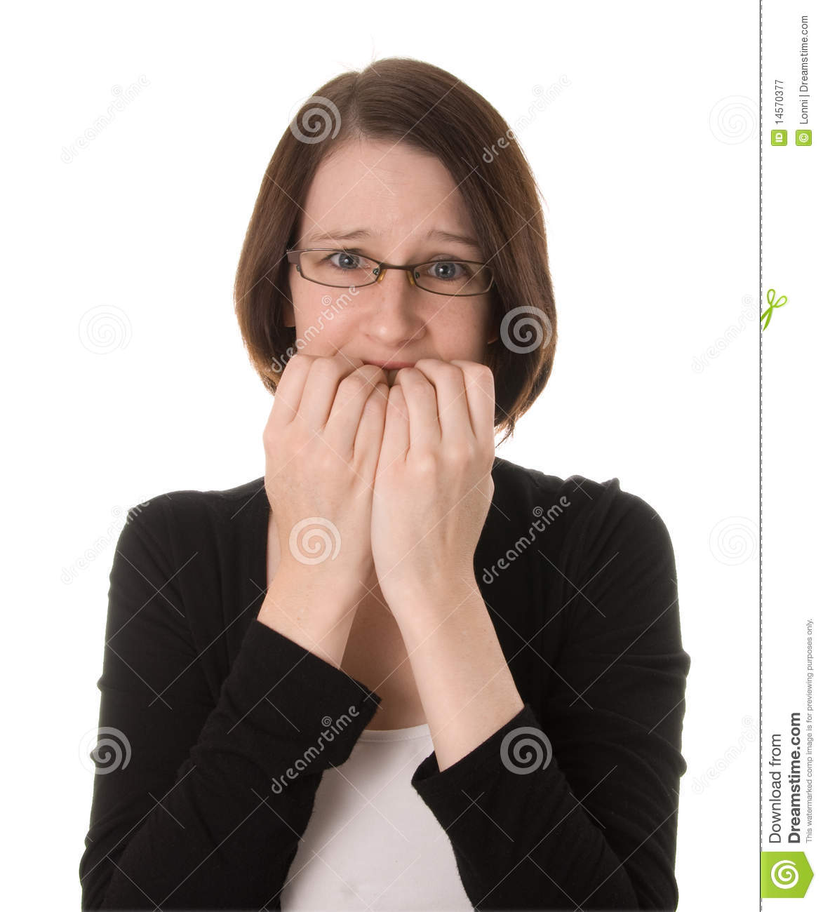 Nervous Woman On White Royalty Free Stock Photography - Image ... Woman