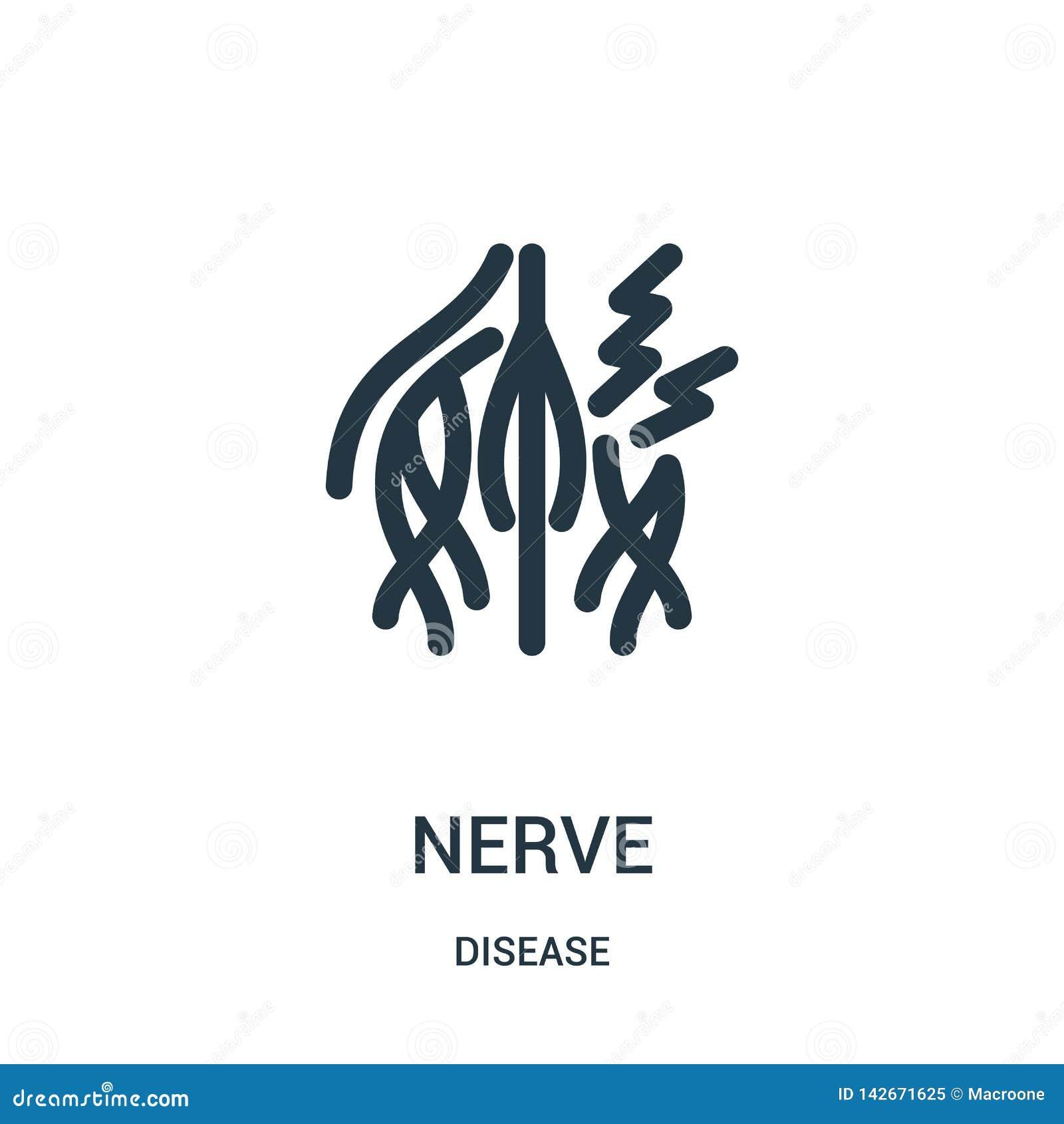 Nervsymbolsvektor från sjukdomsamling Tunn linje illustration för vektor för nervöversiktssymbol Linjärt symbol för bruk på rengö
