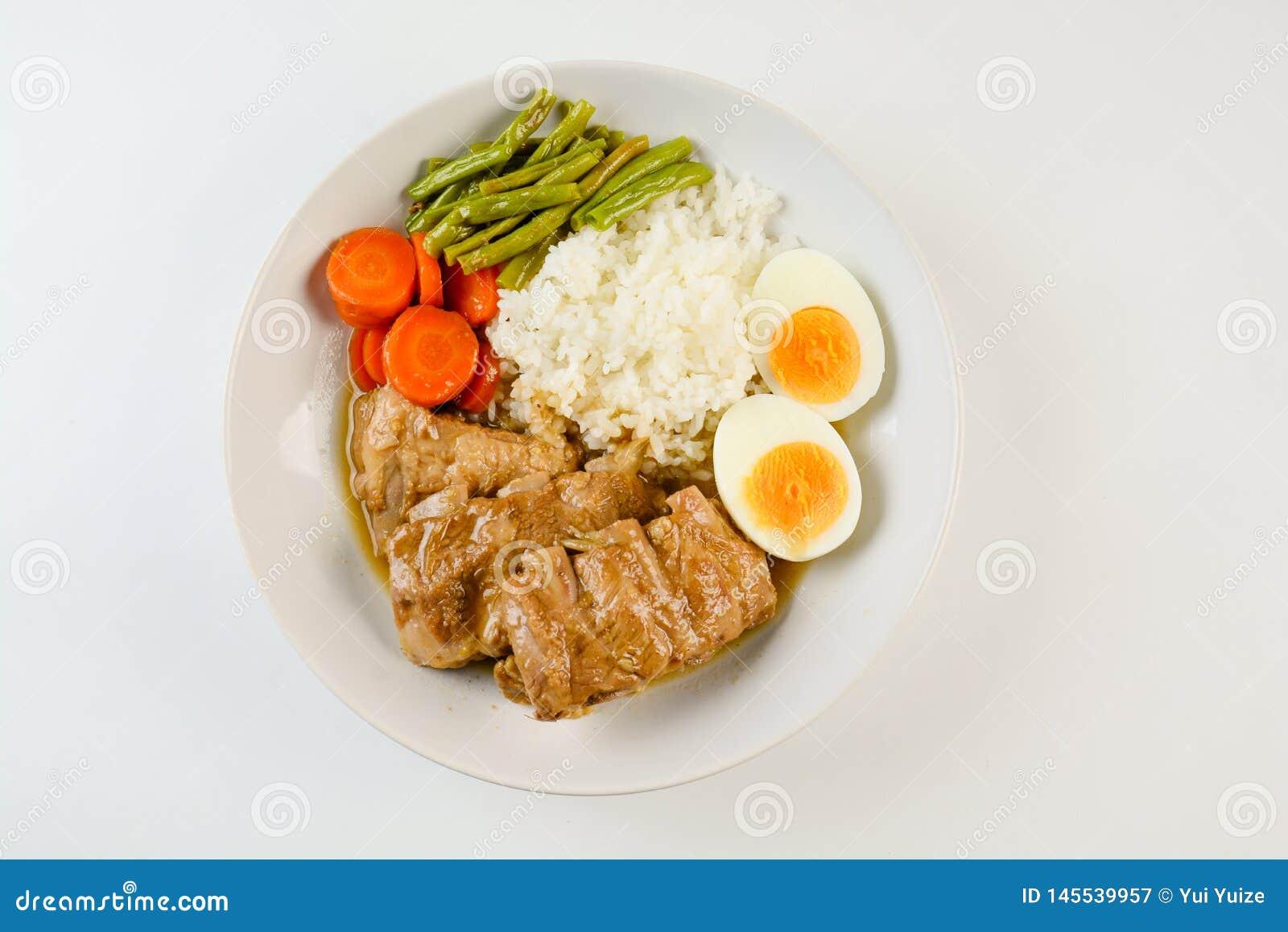 Nervures de porc cuites au four avec du riz