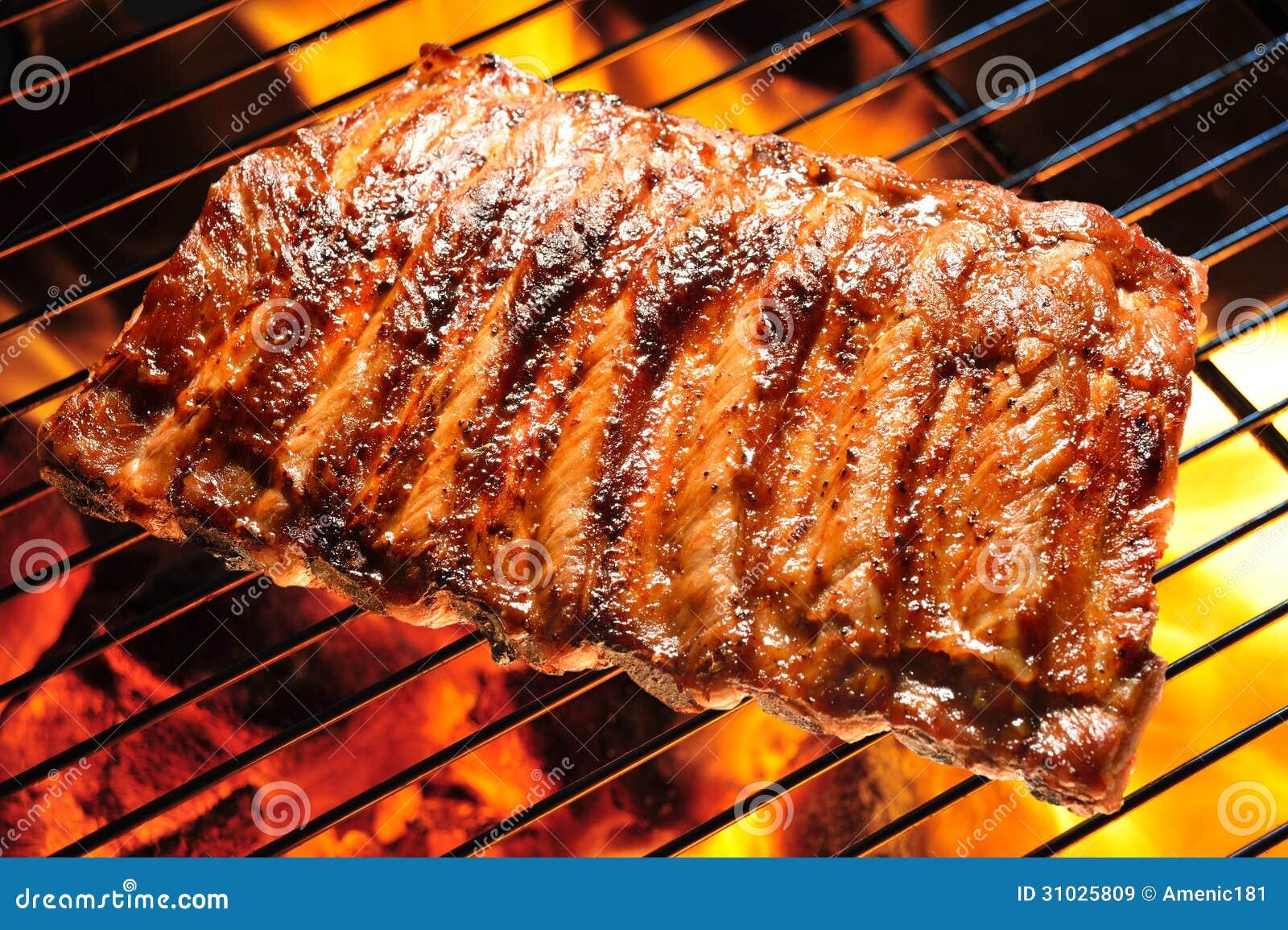 Nervures de porc grillées