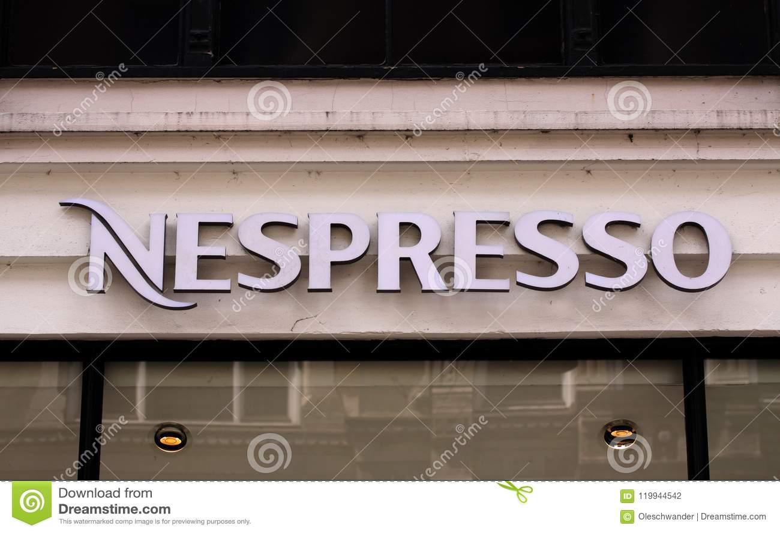 Nespresso Coffee House Store Logo On Shop Panel Nespresso Nestle