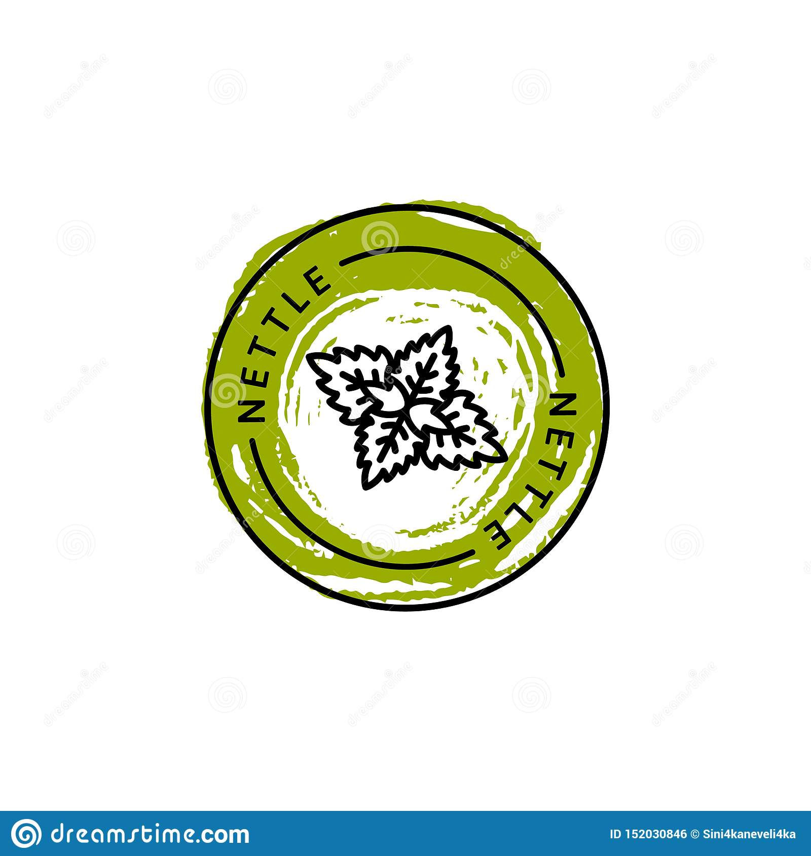 Nesselblattausweis und Ikone in der Tendenz linear und Art des Handabgehobenen betrages - Vektor Logo Emblem der Nessel