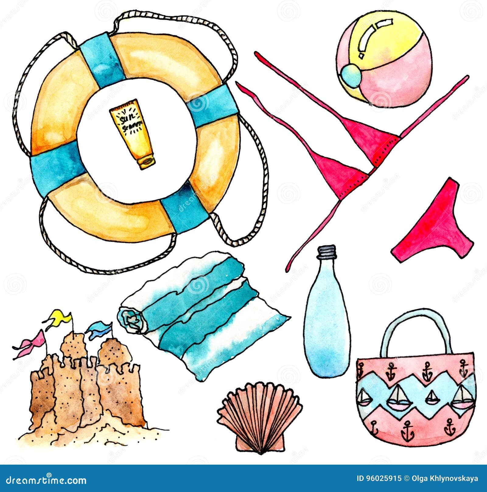 Nessesery akcesoria dla plaży - akwareli ilustracja na bielu