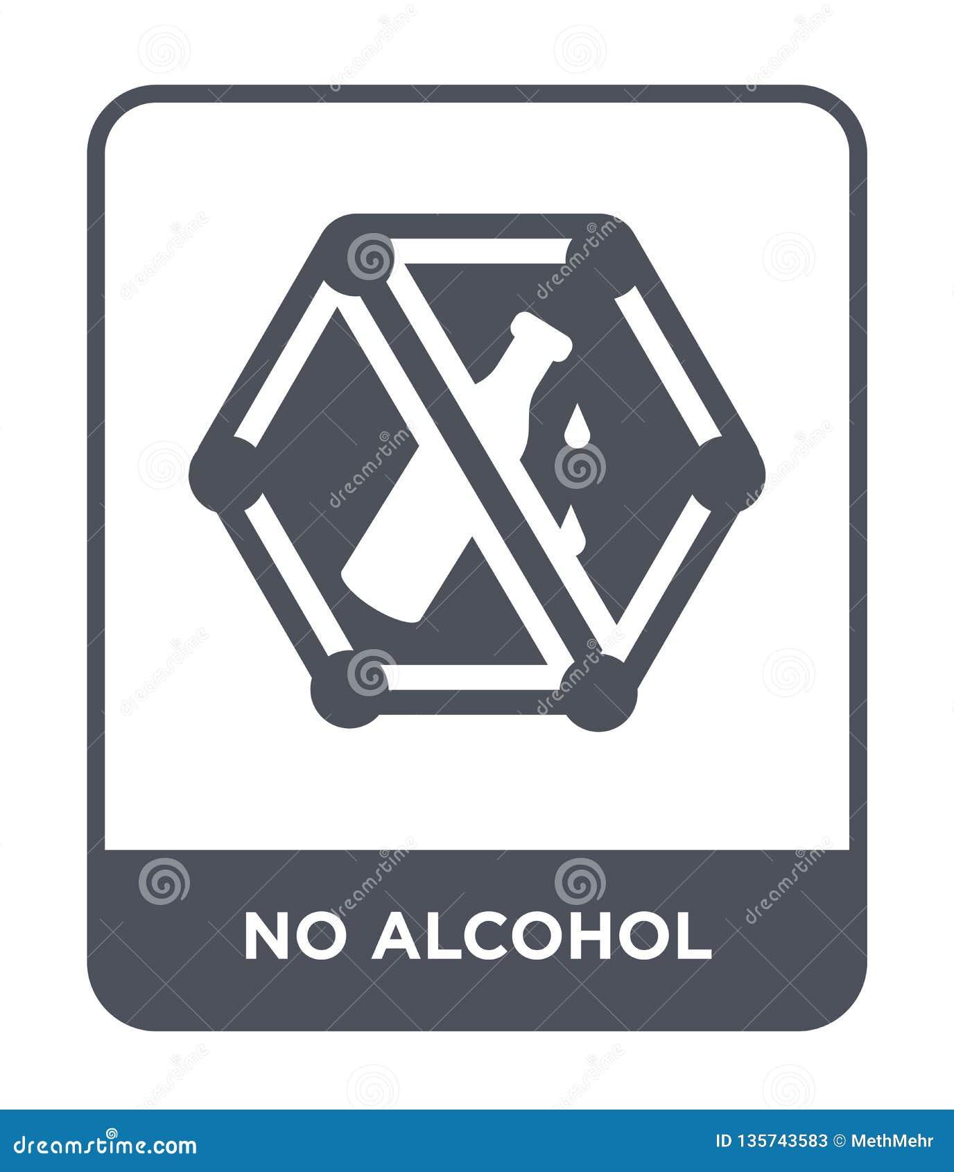 Nessun icona dell alcool nello stile d avanguardia di progettazione nessun icona dell alcool isolata su fondo bianco nessun icona